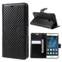 WALLCARBO-P9 - étui aspect carbone Huawei P9 type portefeuille rabat latéral logements cartes