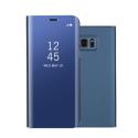 WALLCLEAR-S7BLEU - Etui Galaxy-S7 série View-Case avec rabat translucide coloris bleu