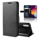 WALLET-A50NOIR - Etui Galaxy A50 noir rabat latéral logements cartes fonction stand