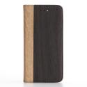 WALLET-IP7BOISCLAIR - Etui iPhone 7/8 rabat latéral noir et tranche aspect bois clair
