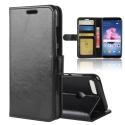 WALLET-PSMARTNOIR - Etui Huawei P-Smart rabat latéral noir logements cartes fonction stand