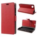 WALLET-SUNNY2PLUSROUGE - Etui Wiko Sunny-2-PLUS rabat latéral rouge type portefeuille avec logements cartes