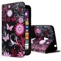 WALLET03LUMIA1320 - Etui type portefeuille papillons et fleurs roses pour Lumia 1320 rabat latéral articulé fonction s