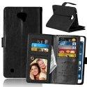 WALLETGRAIN-LGXCAM - Etui rabat LG X-CAM portefeuille aspect cuir noir fonction stand