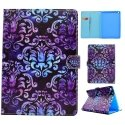 WALLETIPAD2017-DAMASK - Etui iPad 2017 fonction stand patte magnétique Damask Flower