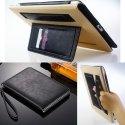 WALLETSOUPLE-IPAD234 - Etui iPad 2/3/4 rabat latéral noir fonction stand cuir noir intérieur beige