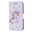 WALLICO-IP8BLANC - Housse Etui iPhone 8 Licorne avec strass et paillettes coloris blanc