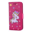 WALLICO-IP8FUSHIA - Housse Etui iPhone 8 Licorne avec strass et paillettes coloris fushia