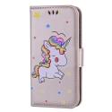 WALLICO-IP8GOLD - Housse Etui iPhone 8 Licorne avec strass et paillettes coloris gold