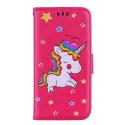 WALLICO-IPXRFUSHIA - Housse Etui iPhone XR Licorne avec strass et paillettes coloris fuhia
