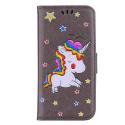 WALLICO-IPXRGRIS - Housse Etui iPhone XR Licorne avec strass et paillettes coloris gris