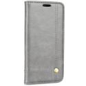 WALLMAGN-IPXSGRIS - Housse Etui iPhone XS rabat latéral gris aimant invisible