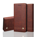 WALLMAGN-IPXSMAXMARRON - Housse Etui iPhone XS Max rabat latéral marron aimant invisible