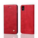 WALLMAGN-IPXSROUGE - Housse Etui iPhone XS rabat latéral rouge aimant invisible