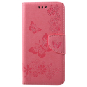 WALLPAPI-A6PLUSROSE - Housse Etui Galaxy A6+ rabat latéral rose à motif papillons