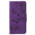 WALLPAPI-A6PLUSVIOLET - Housse Etui Galaxy A6+ rabat latéral violet à motif papillons
