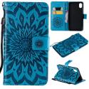 WALLSUN-IPXRBLEU - Housse Etui iPhone XR rabat latéral bleu à motif soleil