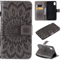 WALLSUN-IPXRGRIS - Housse Etui iPhone XR rabat latéral gris à motif soleil