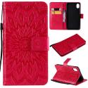 WALLSUN-IPXRROUGE - Housse Etui iPhone XR rabat latéral rouge à motif soleil