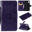 WALLSUN-IPXRVIOLET - Housse Etui iPhone XR rabat latéral violet à motif soleil