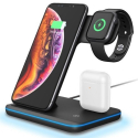 WIRELESS-3EN1 - Chargeur sans fil induction 3en1 iPhone + AirPods+ Apple Watch Fast-Charge QI 15W