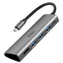 WIWU-ALPHAA531H - Wiwu Alpha 531H Adaptateur Type-C vers 3 prises USB 3.0 + HDMI + USB-C