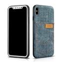 XOOMZ-JEANSIPX - Coque iPhone X souple avec dos en jeans poche logement carte