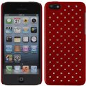 ZIRCO-IP5C-ROUGE - Coque rigide avec strass coloris Rouge iPhone 5c