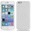 ZIRCOIP647BLANC - Coque rigide blanche avec des strass incrustés pour iPhone 6 4,7 pouces