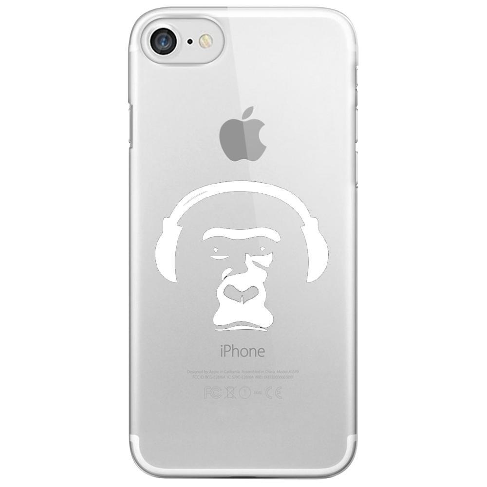 coque rigide transparente pour apple iphone 7 avec impression motifs singe avec son casque kabiloo. Black Bedroom Furniture Sets. Home Design Ideas